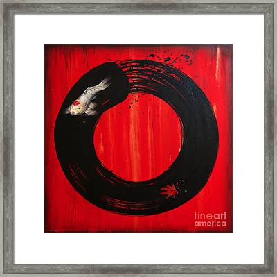 Enso With Koi Red And Gold Framed Print by Sandi Baker