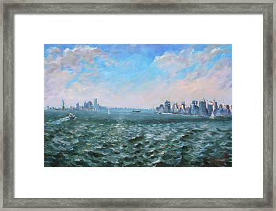 Entering In New York Harbor Framed Print by Ylli Haruni