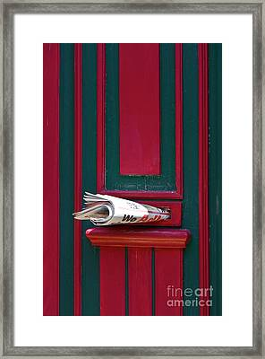 Entrance Door And Newspaper Framed Print by Heiko Koehrer-Wagner