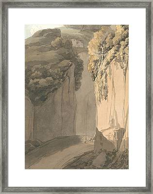 Entrance To The Grotto At Posilippo, Naples Framed Print by Francis Towne