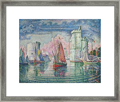 Entrance To The Harbour Of La Rochelle Framed Print by Paul Signac