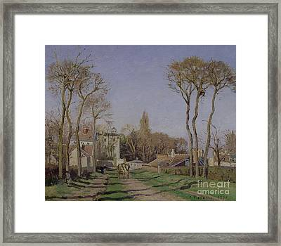 Entrance To The Village Of Voisins Framed Print by Camille Pissarro