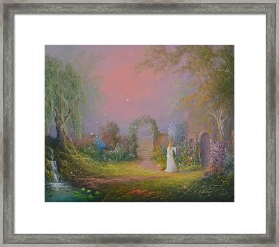 Eowyn In The Garden Of Healing Framed Print by Joe  Gilronan