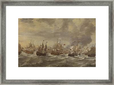 Episode From The Four Days' Naval Battle Of June 1666 Framed Print by Willem Van De Velde The Younger