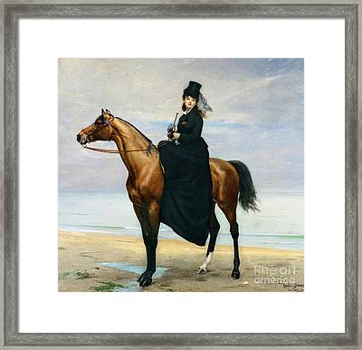 Equestrian Portrait Of Mademoiselle Croizette Framed Print by Charles Emile Auguste Carolus Duran