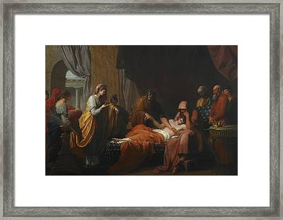 Erasistratus The Physician Discovers The Love Of Antiochus For Stratonice  Framed Print by Benjamin West
