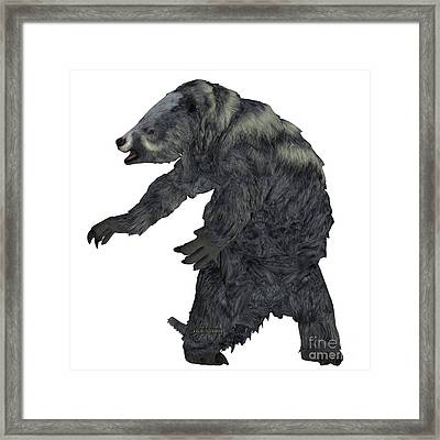 Eremotherium Sloth On White Framed Print by Corey Ford