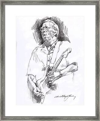 Eric Clapton Blue Framed Print by David Lloyd Glover