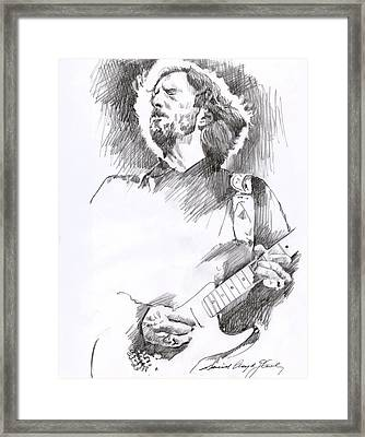 Eric Clapton Sustains Framed Print by David Lloyd Glover