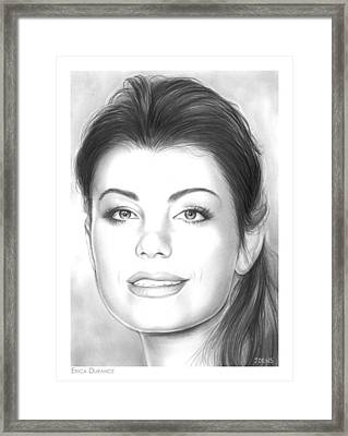 Erica Durance Framed Print by Greg Joens