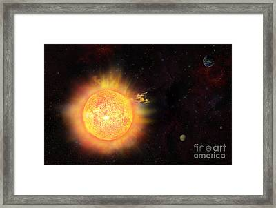 Eruption - Solar Storm Framed Print by Michal Boubin