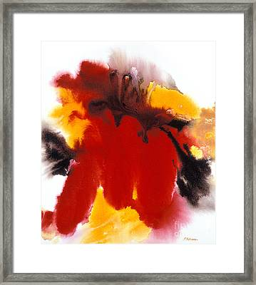 Eruption A Dramatic Acrylic Painting Of A Volcano Framed Print by Phil Albone