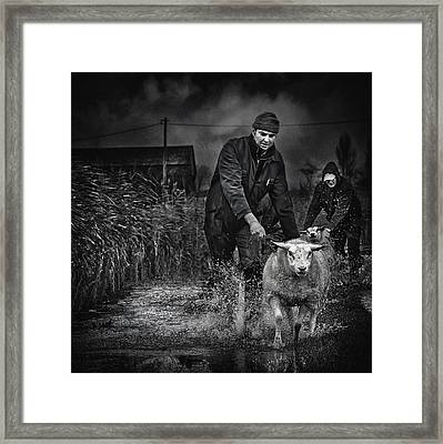 Escape From The Flood Framed Print by Piet Flour