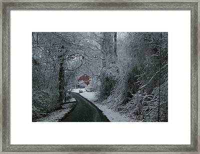 Esso Barn In Winter Framed Print by Renee Summers