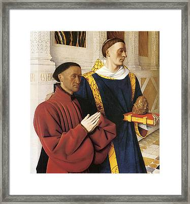 Estienne Chevalier With St. Stephen Framed Print by Jean Fouquet