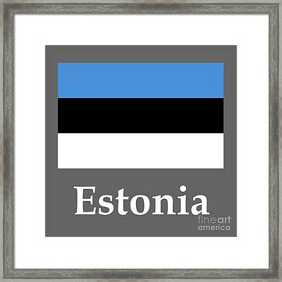 Estonia Flag And Name Framed Print by Frederick Holiday
