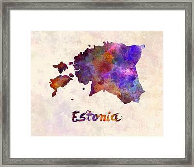 Estonia In Watercolor Framed Print by Pablo Romero