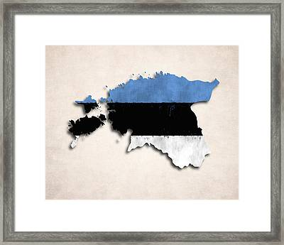 Estonia Map Art With Flag Design Framed Print by World Art Prints And Designs