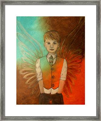 Ethan Little Angel Of Strength And Confidence Framed Print by The Art With A Heart By Charlotte Phillips