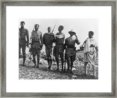 Ethiopians Soldiers Drilling Framed Print by Underwood Archives