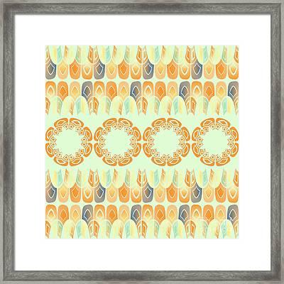Ethnic Orange Pattern Framed Print by Gaspar Avila