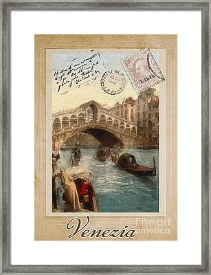 European Vacation Postcard Venice Framed Print by Mindy Sommers