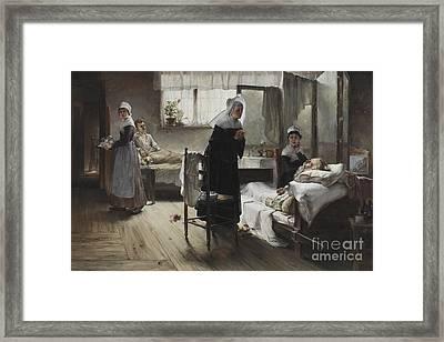 Evangeline Discovering Her Affianced In The Hospital Framed Print by Samuel Richards