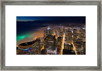 Eve Of The Superbowl In Seattle Framed Print by Mike Reid