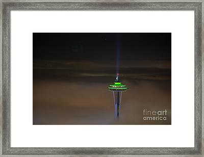 Eve Of The Superbowl Space Needle Framed Print by Mike Reid