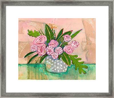 Evelyn Rose Flowers Framed Print by Blenda Studio