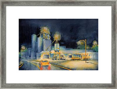Evening At Lindner Feed And Mill Framed Print by Virgil Carter