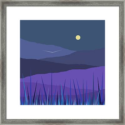 Evening Blue Moonshine Framed Print by Val Arie