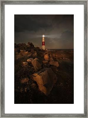 Evening Coast With Lighthouse Framed Print by Jaroslaw Blaminsky