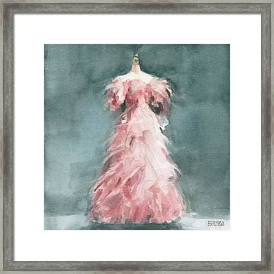 Evening Dress With Pink Feathers Framed Print by Beverly Brown