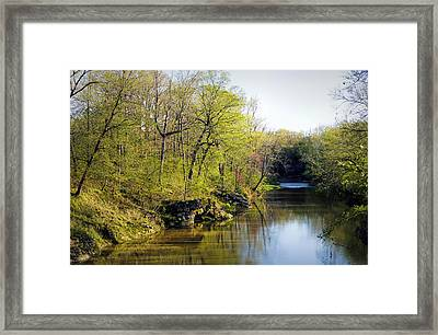 Evening Falls On Cedar Creek Framed Print by Cricket Hackmann