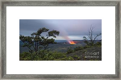 Evening Glow At Halemaumau Crater Framed Print by Charmian Vistaunet