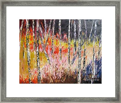 Evening In The Woods Pallet Knife Painting Framed Print by Lisa Boyd