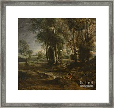 Evening Landscape With Timber Wagon Framed Print by Celestial Images