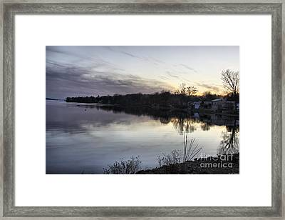 Evening Light On Lake Champlain Framed Print by Deborah Benoit