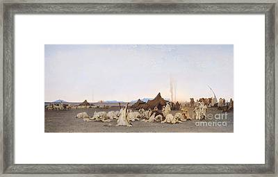 Evening Prayer In The Sahara Framed Print by Gustave Guillaumet