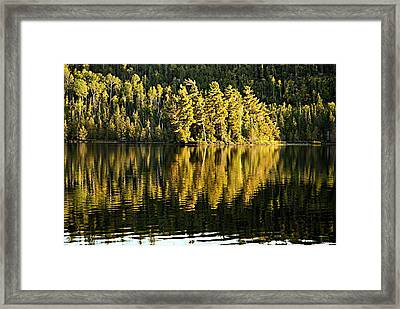 Evening Reflections On Alder Lake Framed Print by Larry Ricker