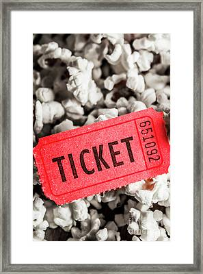 Event Ticket Lying On Pile Of Popcorn Framed Print by Jorgo Photography - Wall Art Gallery
