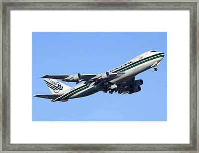 Evergreen International Boeing 747-212b N482ev Phoenix Sky Harbor Arizona December 23 2011 Framed Print by Brian Lockett