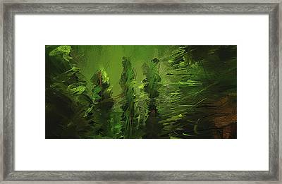 Evergreens - Green Abstract Art Framed Print by Lourry Legarde