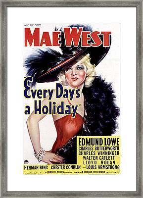 Every Days A Holiday, Mae West, 1937 Framed Print by Everett