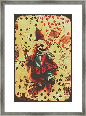 Evil Clown Doll On Playing Cards Framed Print by Jorgo Photography - Wall Art Gallery