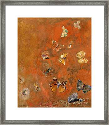 Evocation Of Butterflies Framed Print by Odilon Redon