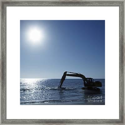 Excavator Digging In The Ocean Framed Print by Skip Nall