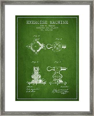 Exercise Machine Patent From 1879 - Green Framed Print by Aged Pixel