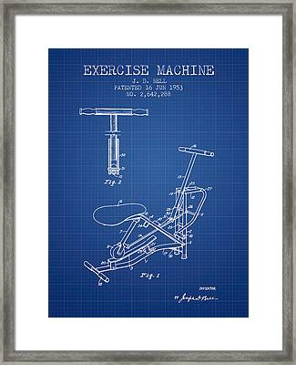 Exercise Machine Patent From 1953 - Blueprint Framed Print by Aged Pixel